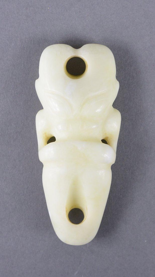 145: Chinese Hongshan-Style Milky White Jade Figure