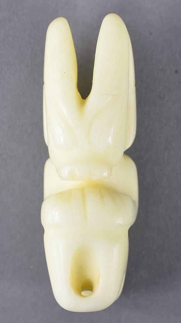 146: Chinese Hongshan-Style Milky White Jade Figure