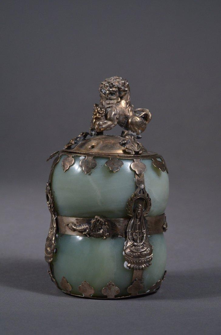 149: Chinese Silver Lined Gourd Jade Jar Qianlong