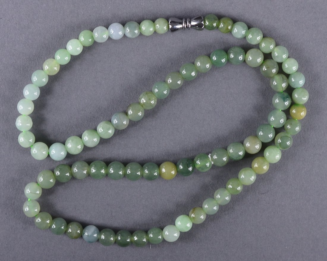 152: Chinese Carved White Jade Bead Necklace
