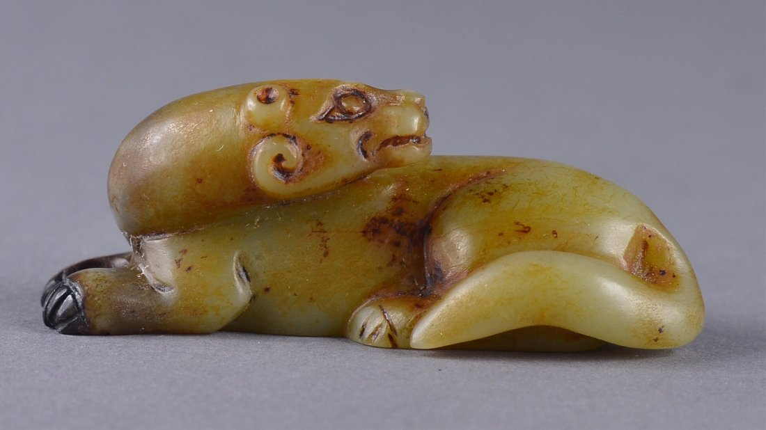 163: 18th/19th C. Chinese White Jade Figure of Lion