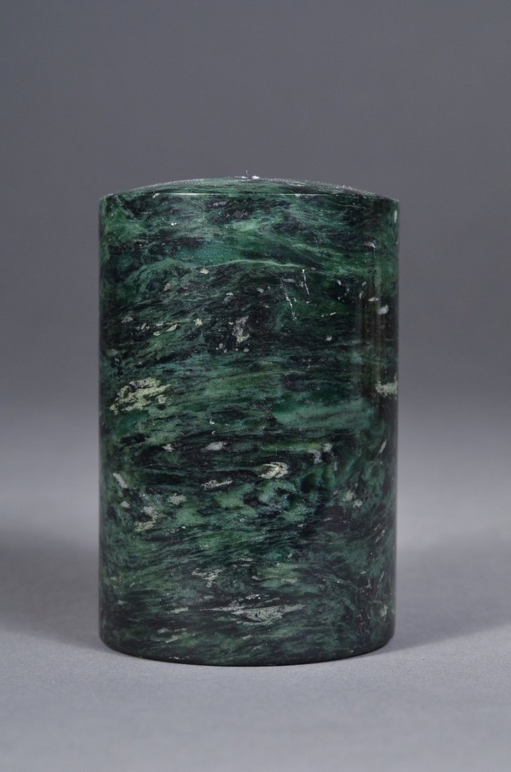 166: Chinese Spinach Green Jade Cylinder Paper Weight