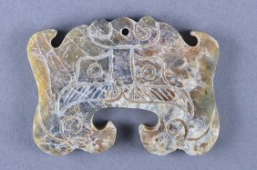 Archaistic Chinese Carved Green Jade Pendant