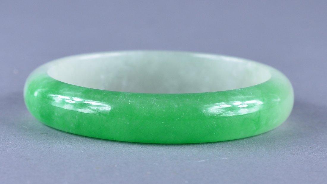 220: 17th/18th C. Chinese White & Green Jade Bangle