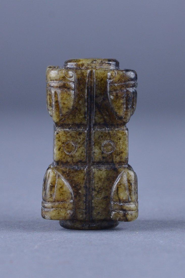 223: Chinese Liangzhu Culture Green Jade Cong