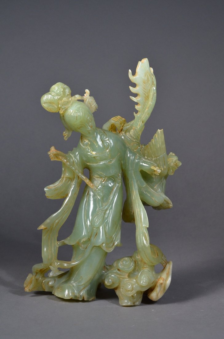 226: 19th C. Chinese Carved Jadeite Buddha & Phoenix