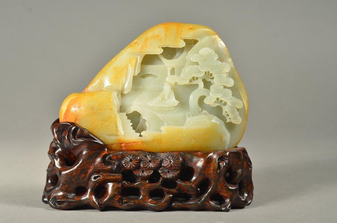 232: Chinese White Jade Boulder: Sage in Landscape