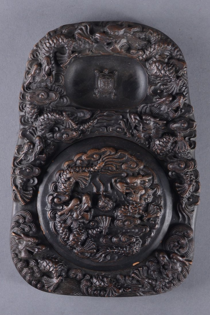 234: Chinese Qing Period Carved Ink Stone Dragon Marked