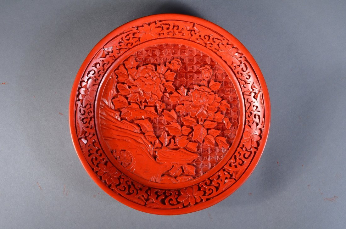 238: 20th Century Chinese Red Lacquer Plate