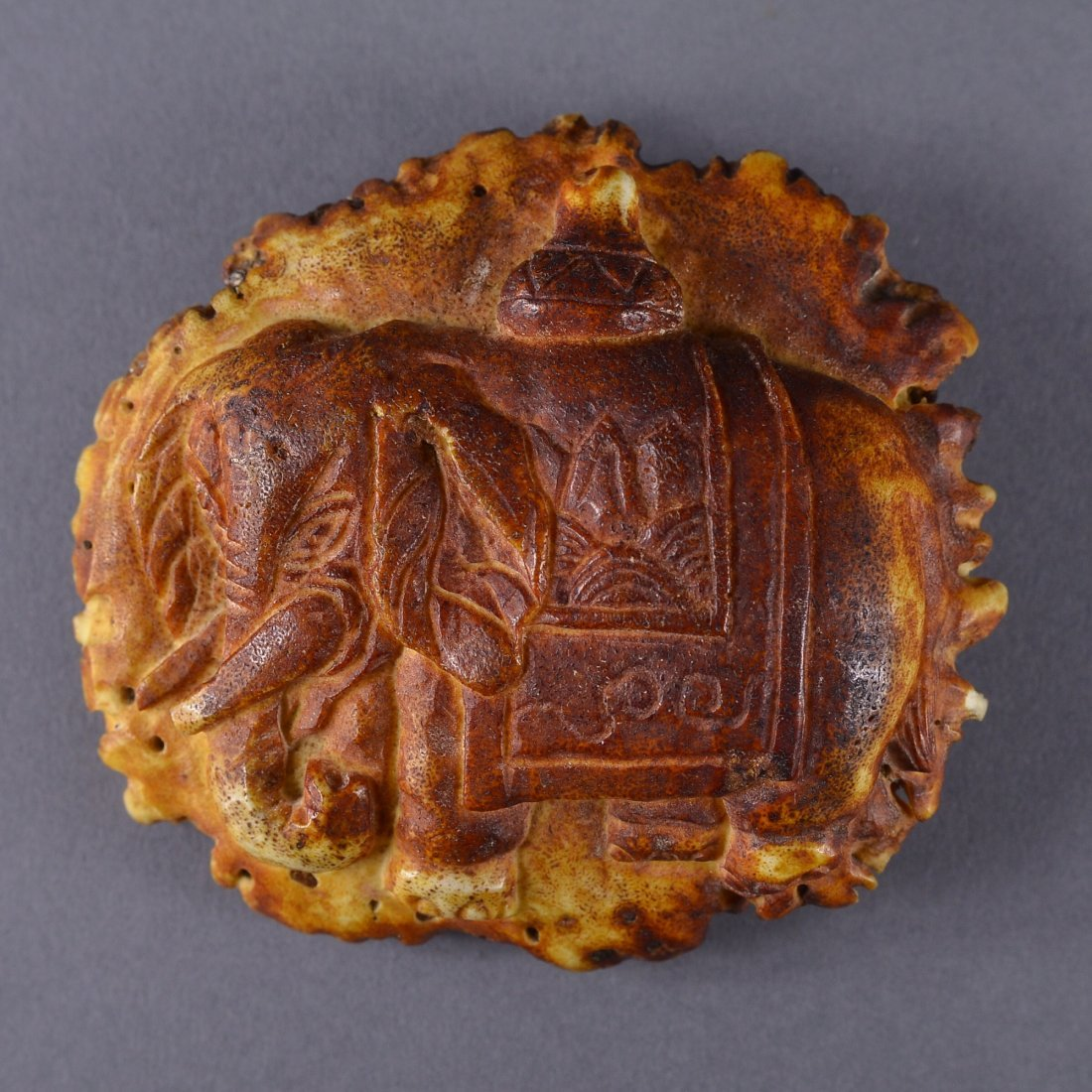 239: Chinese Carved Deer Horn in Form of Turtle Shell