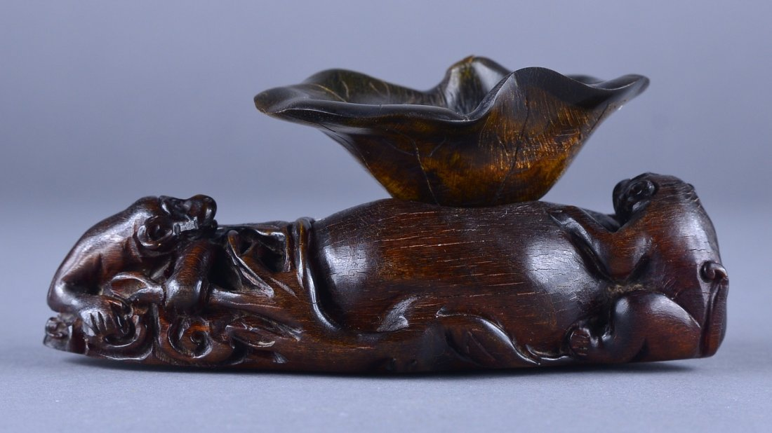 268: 17th/18th C. Chinese Rhinoceros Horn Lotus Cup