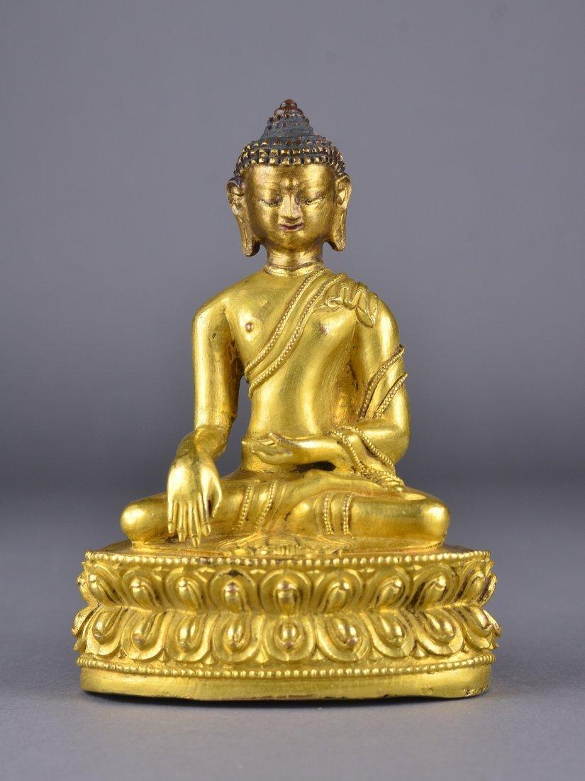 315: Chinese Ming Dynasty Gilt Gold Medicine Buddha