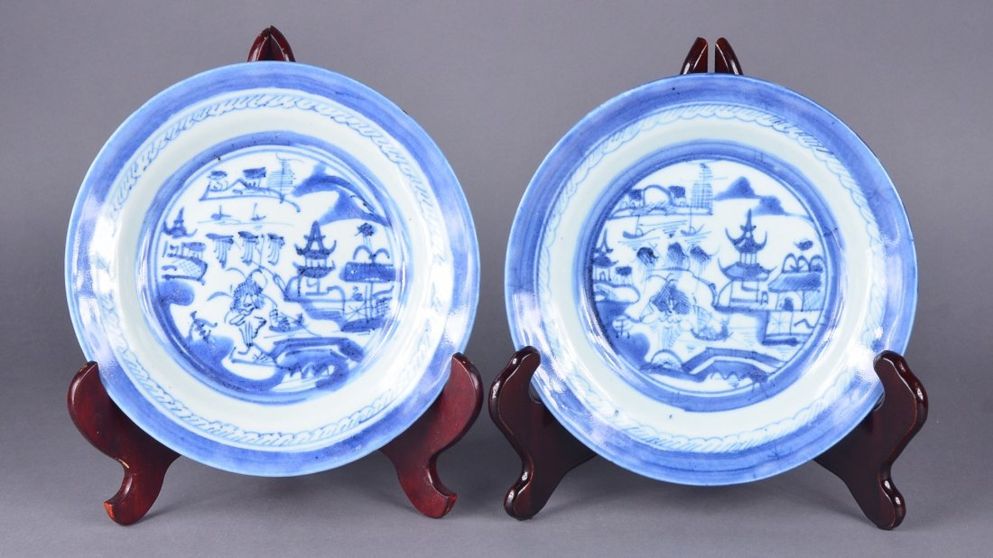 338: Pair Chinese Blue & White Export Plates