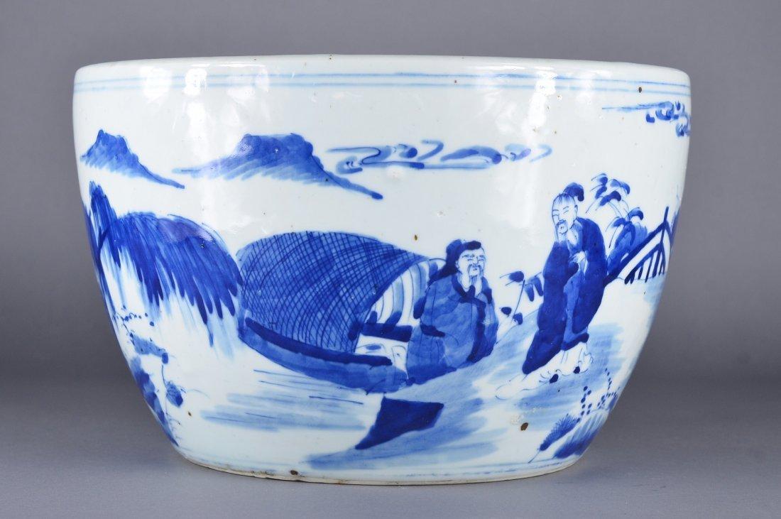 353: Chinese Kangxi-Style Blue & White Fish Bowl