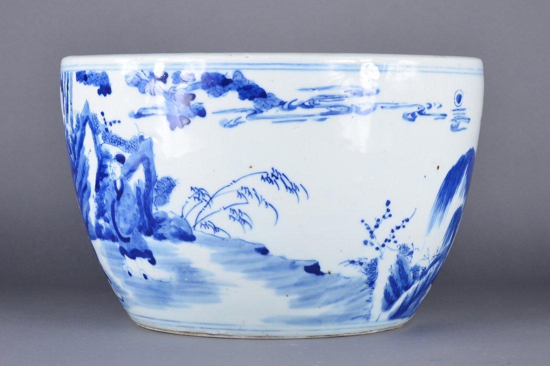 353: Chinese Kangxi-Style Blue & White Fish Bowl - 2