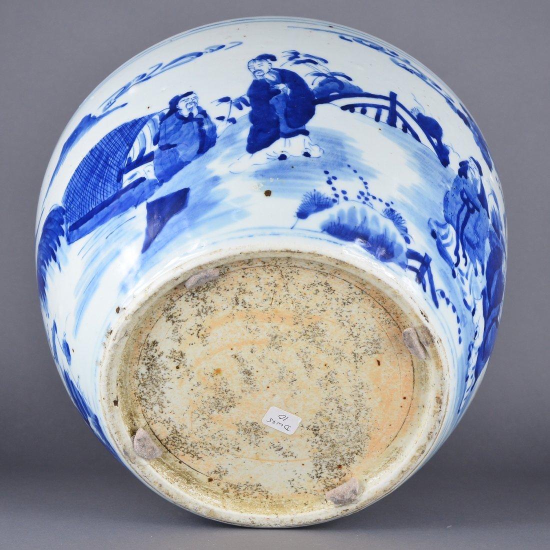 353: Chinese Kangxi-Style Blue & White Fish Bowl - 4
