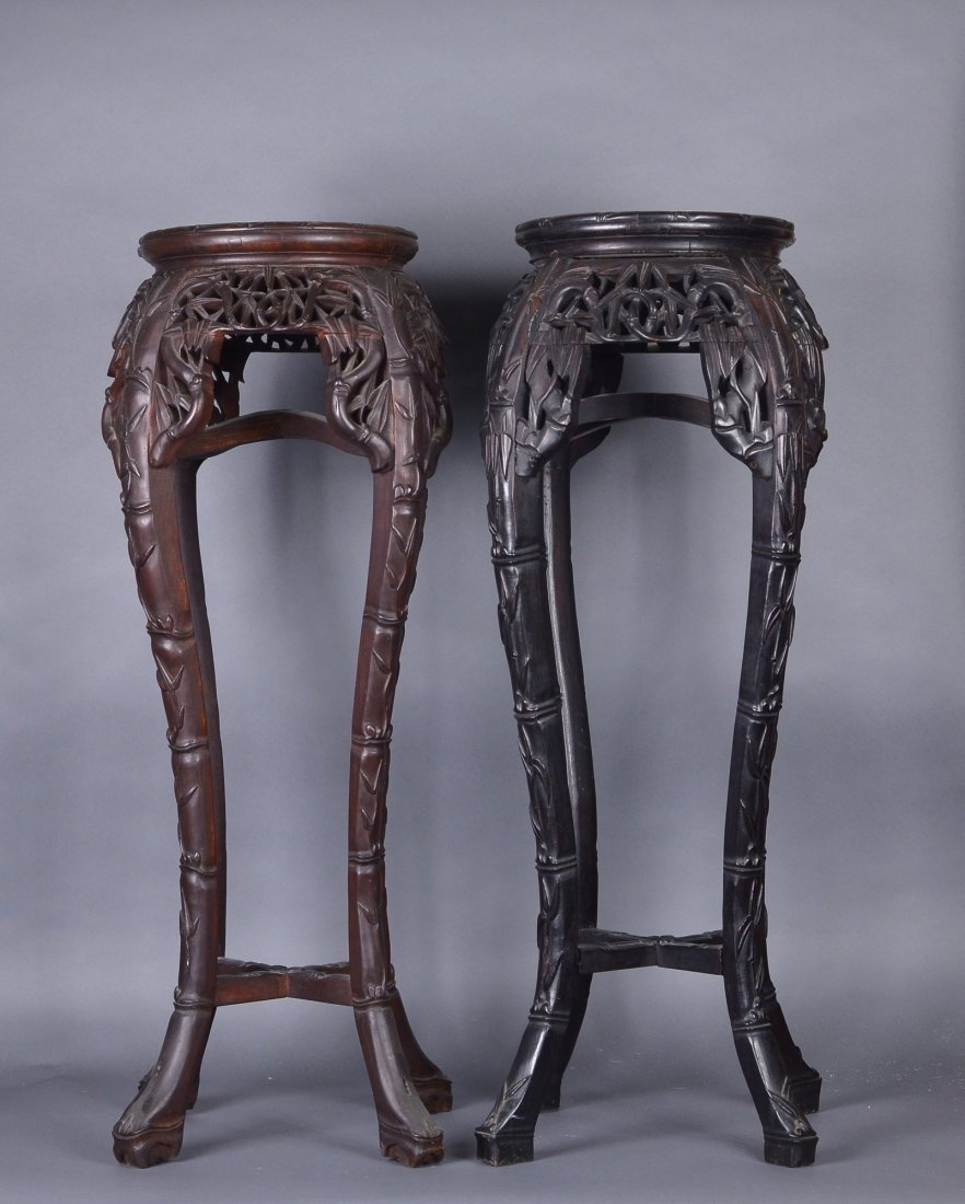 476: Pair of Chinese Rosewood Carved Side Tables