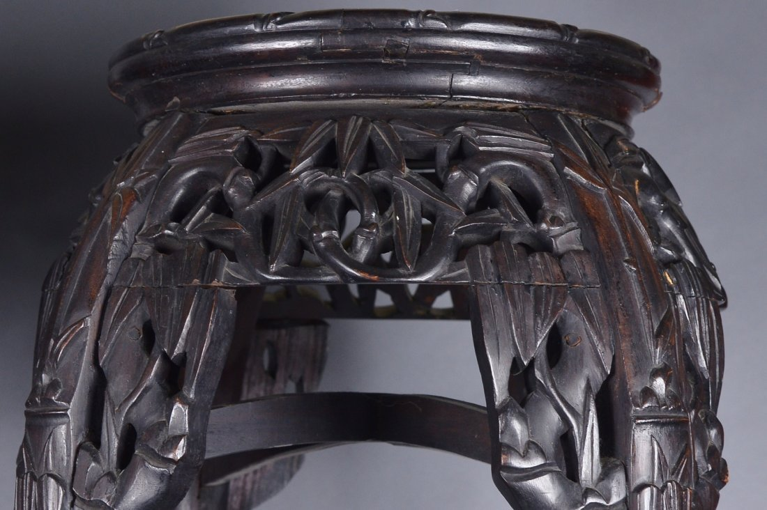 476: Pair of Chinese Rosewood Carved Side Tables - 2