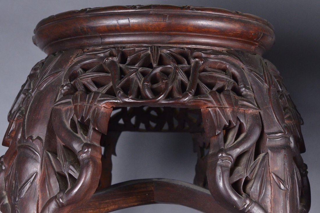 476: Pair of Chinese Rosewood Carved Side Tables - 3