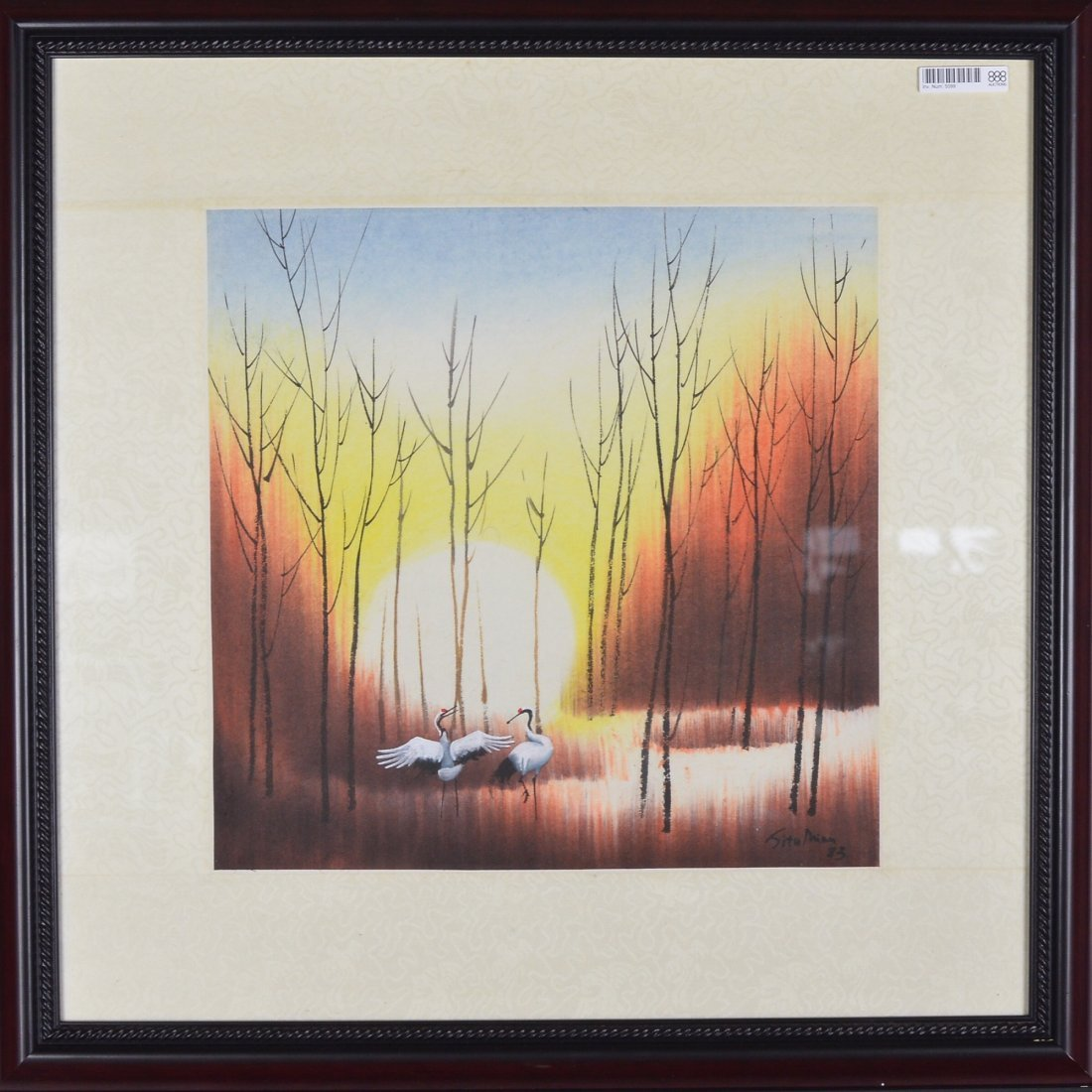 15: Framed Chinese Watercolour Painting Dated 1983