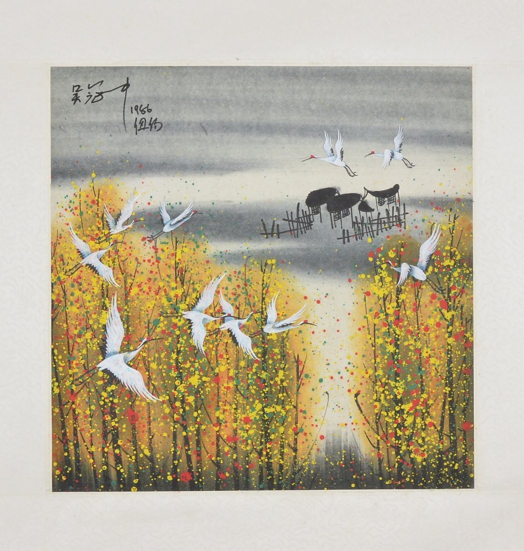 17: Chinese Watercolour Painting on Paper Dated 1986