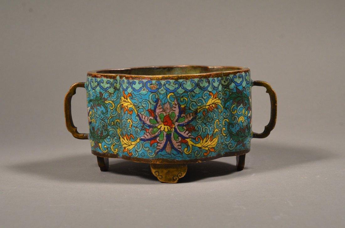 389: 18th Century Qianlong Quatrefoil Cloisonne Censer
