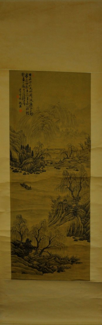 14: Chinese Hanging Scroll Print Watercolour w/ stamp