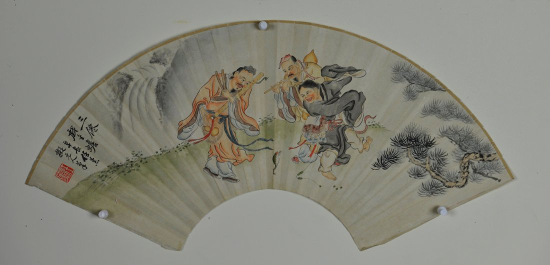 21: Chinese Watercolour Fan Painting Dancing Immortals
