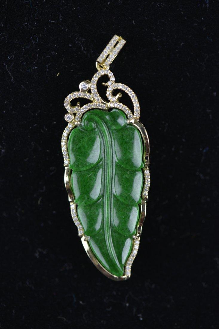 200: Chinese Emerald Green Jadeite 18K Gold and Diamond
