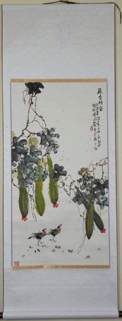 16: Dan Chun Chinese Watercolour Hanging Scroll