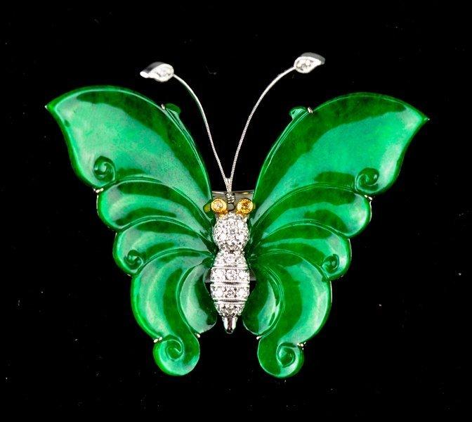 243: Chinese Emerald Green Burma Jade Butterfly Brooch