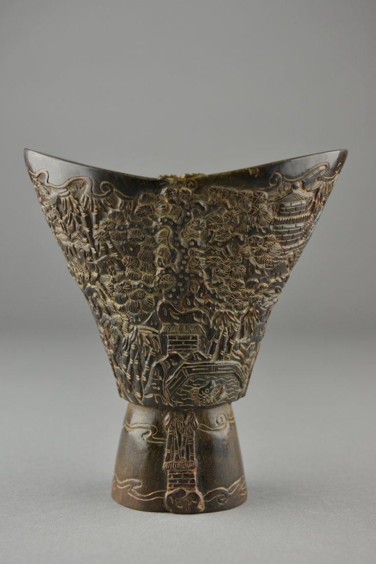 476A: Chinese Rhinoceros Horn Carved Libation Cup