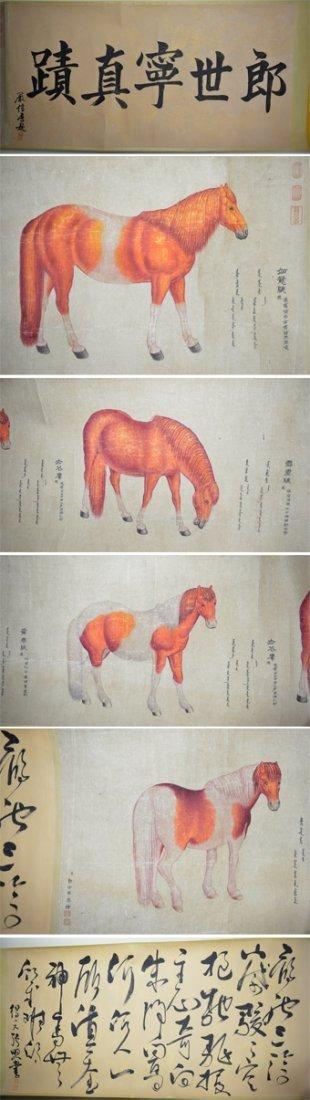 62: Qianlong Watercolor Lang Xu Ling 1688-1766 Horses