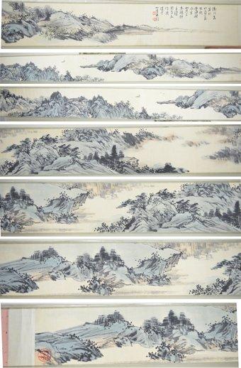 16A: Chinese Watercolour Silk Scroll Pu Yi 1906-1967
