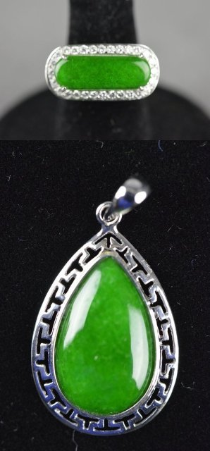 249: Chinese Jadeite Ring & Pendant Set w/ Diamonds 18K