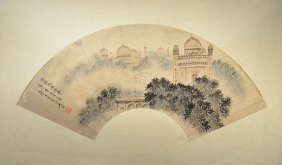 5: Chinese Mounted Watercolor Fan Painting