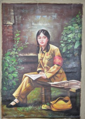 8: A Chinese Oil on Canvas Painting