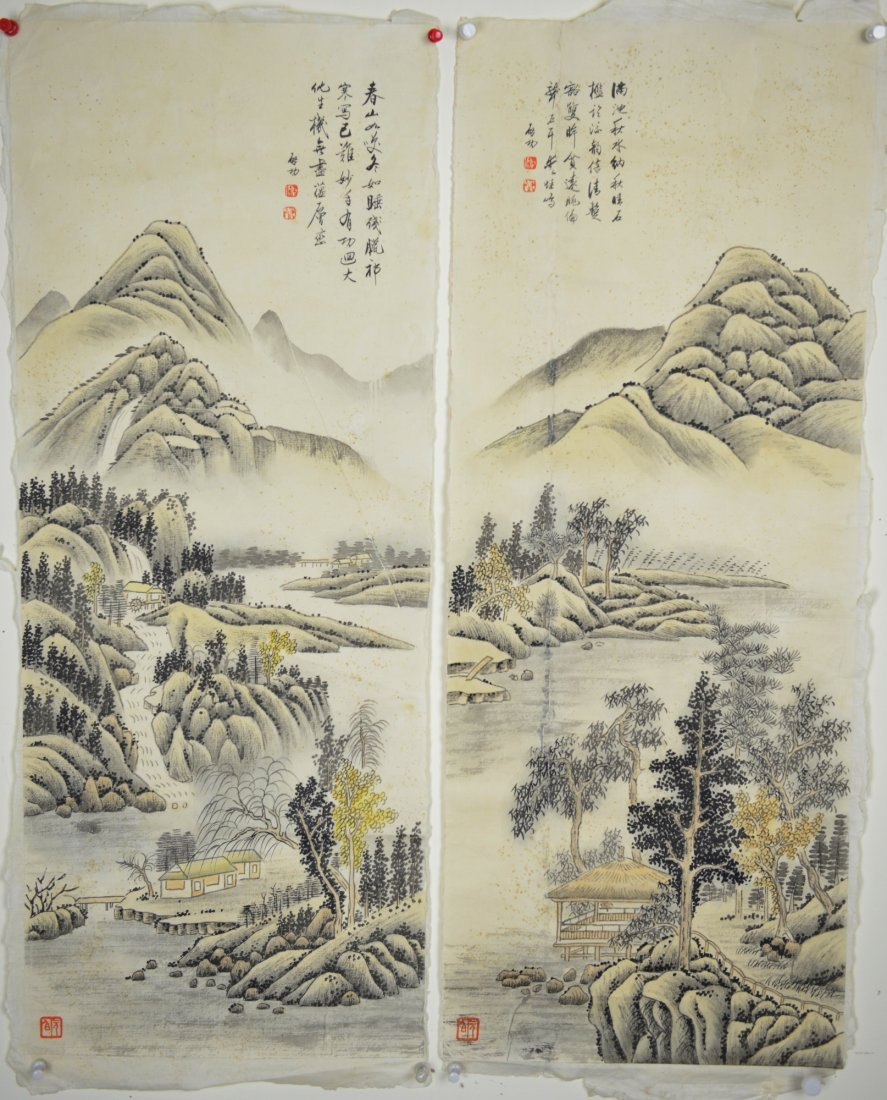 10: Two Chinese Watercolors on Paper