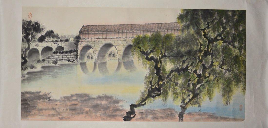 16: Chinese Watercolour Paintings Scroll Bridge