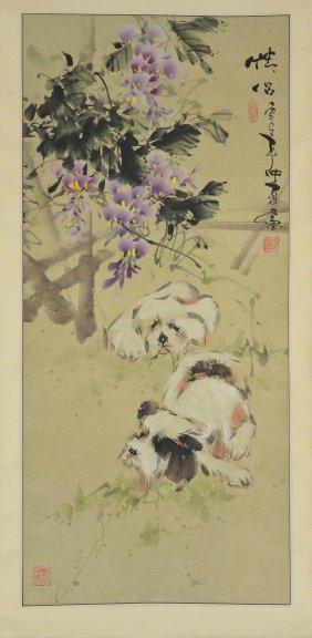 18: Jong Xia Chinese Watercolour Hanging Scroll