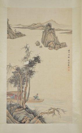 19: Wang Jun Chinese Watercolour Hanging Scroll