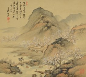 24: Hong Ying Chinese Watercolour Hanging Scroll