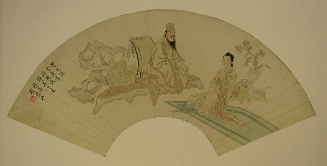 13: Chinese Watercolour Fan Painting Cui Xiao Shan