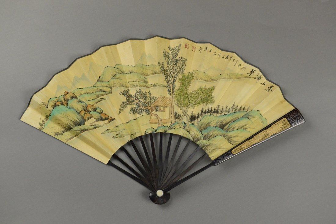 Yuan Dynasty Fan Painting Signed Wang Yuan Qi