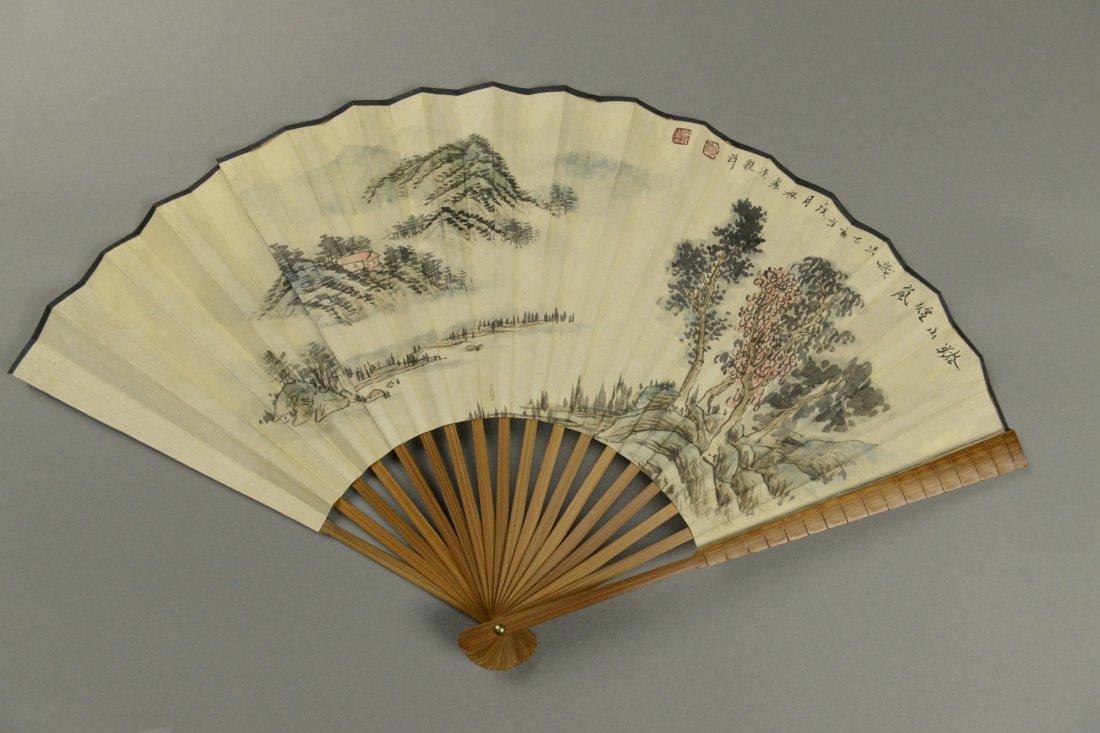 Fan Painting of Landscape Signed Wu Yin Xiang