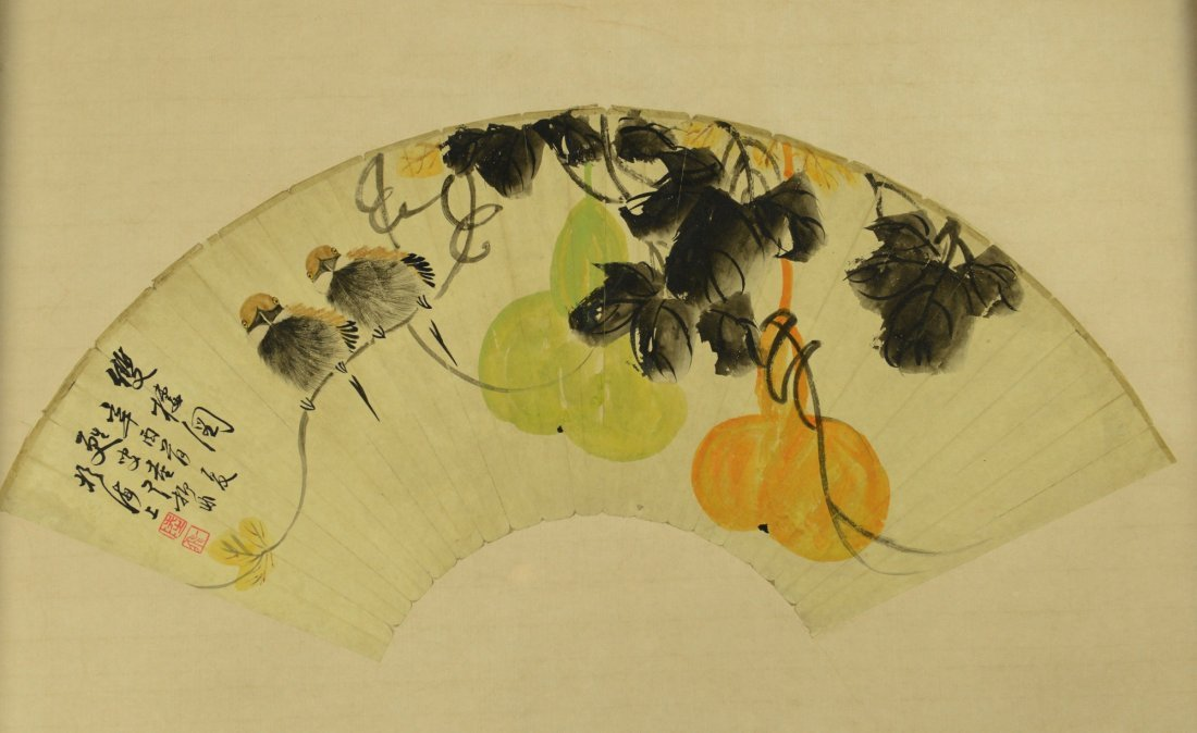 Chinese Watercolour Fan Painting of Birds & Gourd