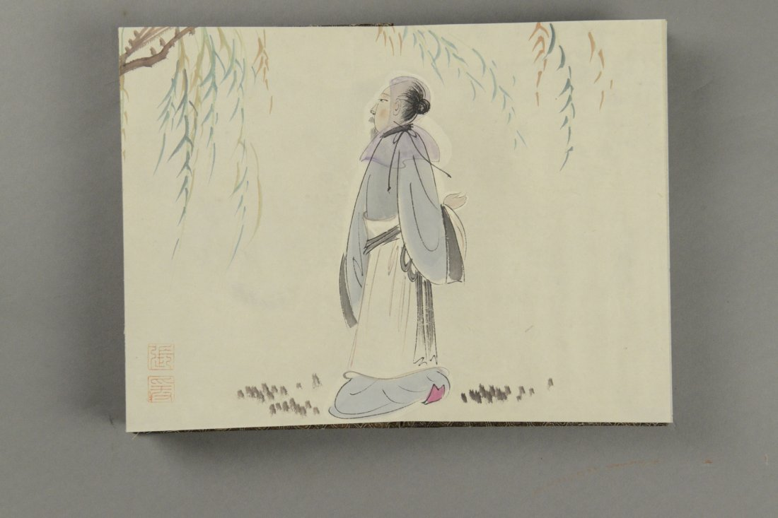 16 Pages Painting Book Signed Zhang Daqian Sealed