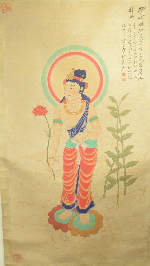 Chinese Painted Kwanyin Style of Zhang Daqian