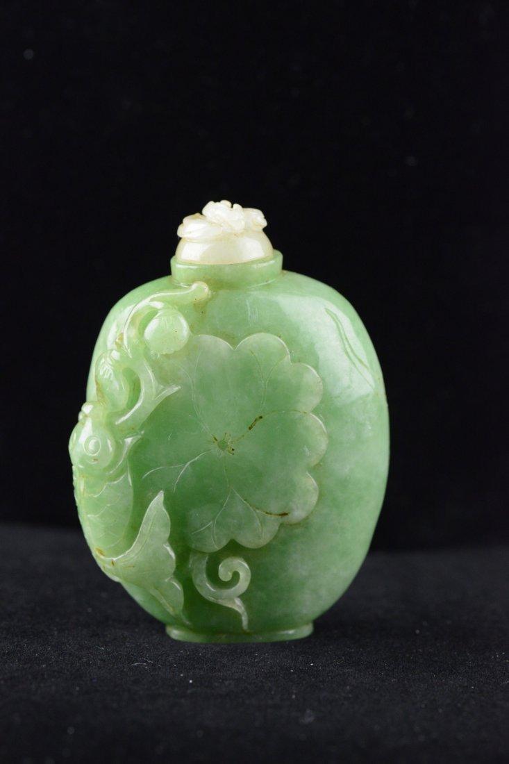 Burma Emerald Jadeite Carved Snuff Bottle Qing