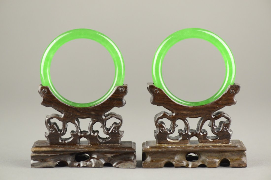 Pair Of Very Fine Emerald Green Jadeite Bangles
